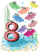 Sea animals and numbers series for kids ,8,shells — Stock Vector