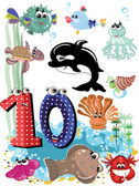 Sea animals and numbers series for kids ,10 — Stock Vector