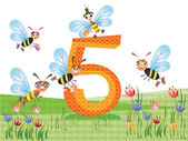 Insects and numbers series for kids, from 0 to 10 - 5 — Stock Vector
