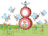 Insetos e números de série para crianças, de 0 a 10,8 — Vetorial Stock