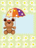 Postcard with bear — Stock vektor