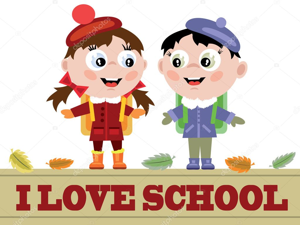 Funny pupils and words I love  school,vector. — Stock Vector #6066366