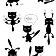 Stock Vector: Vector black cats