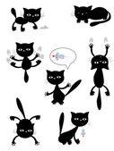 Vector black cats — Stock Vector