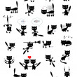 Stock Vector: Big vector set of black cats.