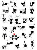 Big vector set of the black cats. — Stock Vector