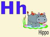 Animal alphabet H ,vector — Stock Vector