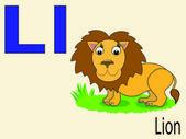 Animal alphabet L,vector — Stock Vector
