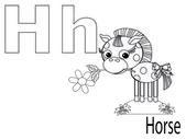 Kolorowanki alfabet dla dzieci, h — Wektor stockowy