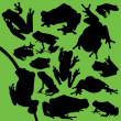 Frog Silhouettes — Stock Vector