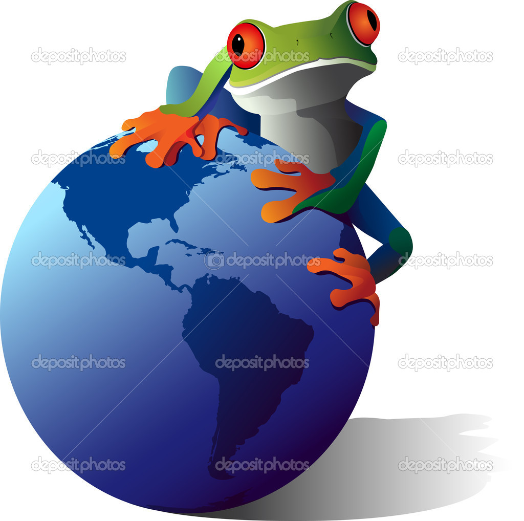 A conceptual illustration of a Red-Eyed Tree frog on the planet earth. Wildlife Conservation concept. — Stock Vector #6116349