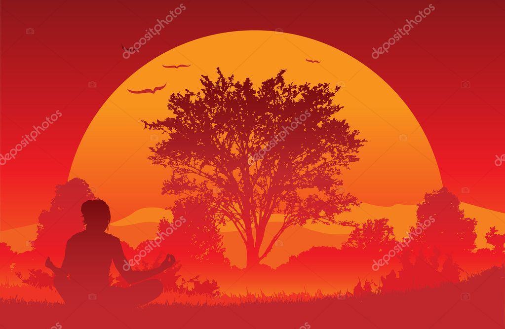 An illustration of a woman practicing a yoga exercise as the sun rises in the early morning. — Stock Vector #6116356