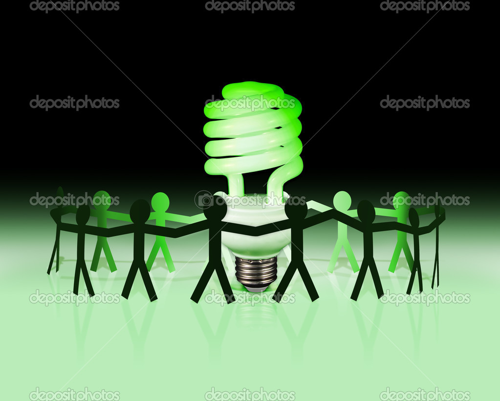 An energy efficient lightbulb glows green with a team of paper surrounding it.  Stock Photo #6313697