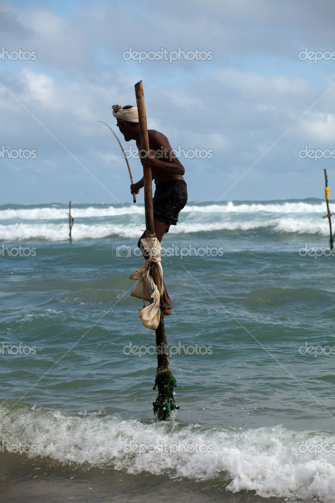 Stilt Fishing is unique to South Asia — Stock Photo #6449980