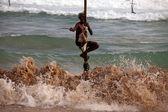 Traditional sri lankan stilt fisherman — Stock Photo
