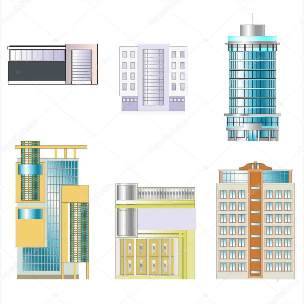 Office and industrial buildings separately. Drawings of buildings. — Stock Vector #5425595