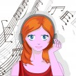 Girl with headphones - Imagen vectorial