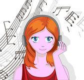 Girl with headphones — Stock Vector