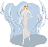 A girl in a bridal dress — Stock Vector