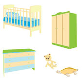 A set of baby furniture — Stock Vector