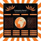 Website template with globe-orange-black — Stock Vector