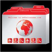 Red website design template, vector. — Stock Vector