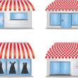 Stock Vector: Cute shop icons with red awnings