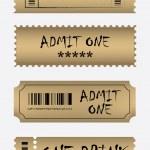 Various golden ticket set — Stock Vector