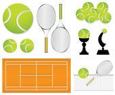 Elementos de diseño deportivo tenis — Vector de stock