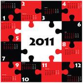 Puzzle calendar for 2011 — Stock Vector