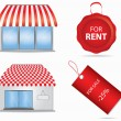 Cute shop icon with red awnings. Vector illustration. — Stock Vector