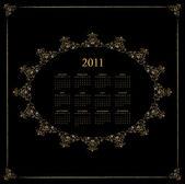 календарь дизайн 2011 - черный - винтаж — Cтоковый вектор