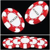 Lucky poker - red-white vector — Stock Vector