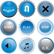 Collection of six glossy buttons in various colors - blue — Stock Vector