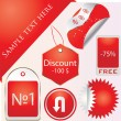 Vector set of tags - red label - Stock Vector