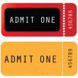 Red - yellow ticket - admit one — Stock Vector #6252049