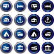 Tourist locations icon set — Stock Vector