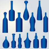Silueta de botellas — Vector de stock
