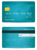 Vector credit card, front and back view — Stock Vector
