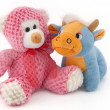 Soft toys bear and cow — Stock Photo