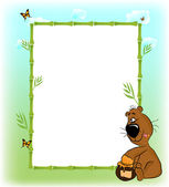 Children frame for photo with a bear — Stock Vector