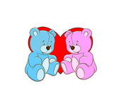Cartoon illustration of two teddy bears in love — Stock Vector