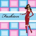 Fashion illustration girl — Stock Vector