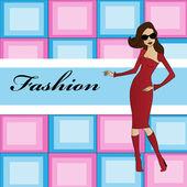 Resimde kız moda — Stok Vektör