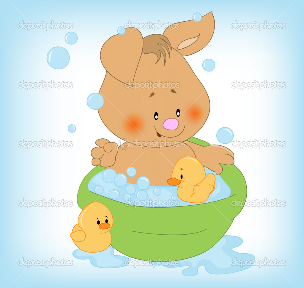 Bunny with soap bubbles — Stock Vector #6395589