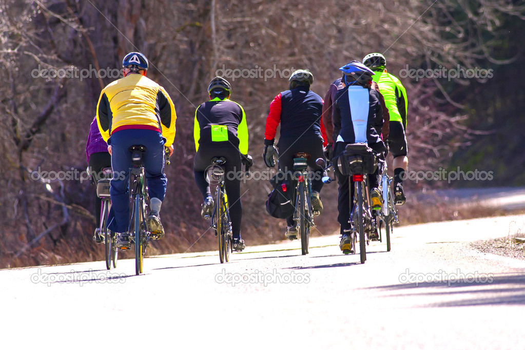 A rear view of several bicyclists on a country road. — Stock Photo #5399683