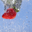 Dropped strawberry. — Stock Photo