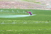 Spraying field from the air. — Foto de Stock