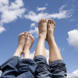 Stock Photo: Mother and daughter feet.