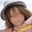 Closeup of girl wearing hat. — Stock Photo